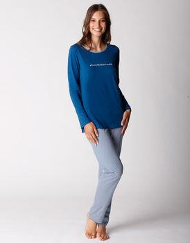 Pigiama manica e gamba lunga, in jersey di cotone, blu oltremare, , LOVABLE