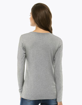 Maglia manica lunga grigio melange, in cotone supima, girocollo , , LOVABLE
