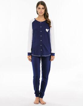 Pigiama manica e gamba lunga blu navy in jersey di cotone con raglan-LOVABLE