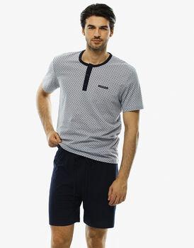 Pigiama manica e gamba corta grigio ghiaccio stampato in jersey-LOVABLE