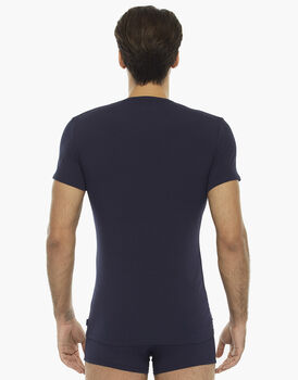 T-shirt manica corta blu notte in cotone elasticizzato con lunetta stampata, , LOVABLE