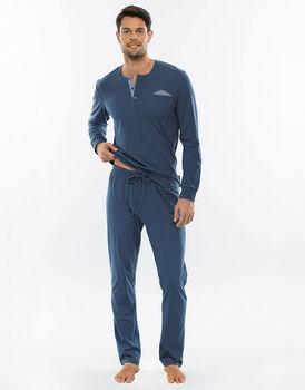 Pigiama manica e gamba lunga blu polvere in jersey con casacca con polsini-LOVABLE