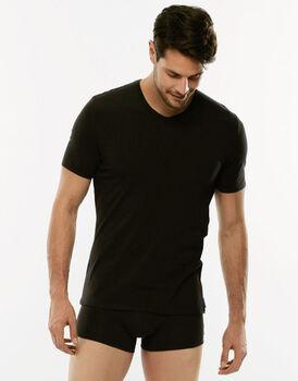 T-Shirt 24h Freshness nera in cotone elasticizzato con scollo a V-LOVABLE