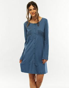 Camicia da notte manica lunga, blue jeans, in cotone modal-LOVABLE