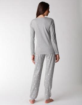 Pigiama donna lungo in 100% cotone, grigio melange, , LOVABLE