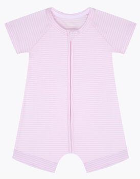 Pagliaccetto in cotone elasticizzato, tinto in filo rosa e bianco, , LOVABLE