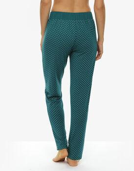 Pantalone gamba lunga in viscosa, verde stampato-LOVABLE