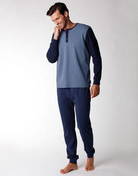 Pigiama uomo lungo in 100% cotone interlock, blu notte con stampa, , LOVABLE