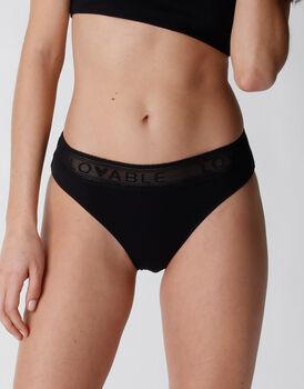 Slip Natural Panties in cotone e modal, nero, , LOVABLE