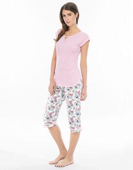 Pigiama manica corta pinocchietto rosa in costina di cotone con pantalone stampato-LOVABLE