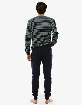 Pigiama manica e gamba lunga, righe blu navy e verde cappero, in interlock e tinto in filo con taschino sul retro pantalone-LOVABLE