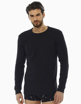 T-shirt manica lunga nero in interlock di cotone con girocollo , , LOVABLE