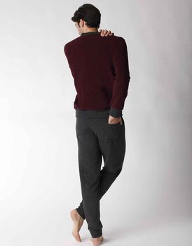 Homewear uomo lungo in felpa doppia spazzolatura, bordeaux, , LOVABLE