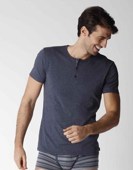 T-shirt uomo a manica corta in cotone stretch, blu navy, , LOVABLE