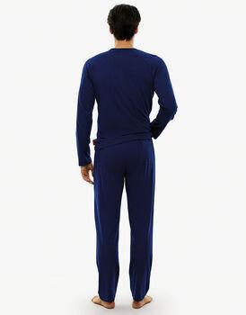 Pigiama manica e gamba lunga blu royal in jersey di cotone-LOVABLE
