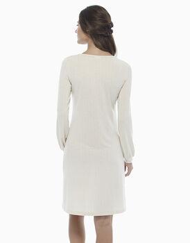 Camicia da notte manica lunga avorio, in viscosa con lurex e dattagli pizzo, , LOVABLE