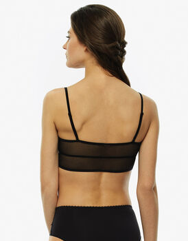 Bralette nero e rosa in pizzo con lurex e Charmeuse-LOVABLE