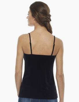 Top nero, in velluto elastico e pizzo sulla scollatura davanti , , LOVABLE