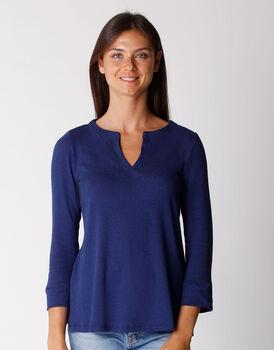 T-shirt manica 3/4 in cotone e lino, blu, , LOVABLE