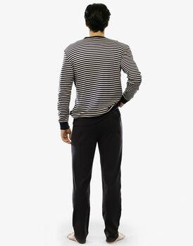 Pigiama manica e gamba lunga, righe cioccolato, in interlock e tinto in filo con tascino sul retro pantalone-LOVABLE