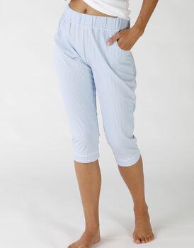 Pantaloni capri in operato maglia cotone e sorona, colore lightblue e white, , LOVABLE