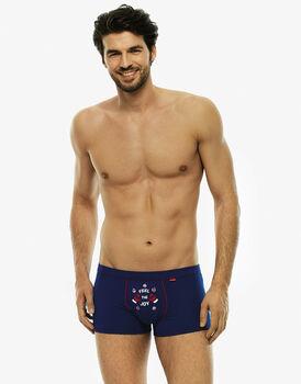 Short boxer blu royal in cotone elasticizzato-LOVABLE