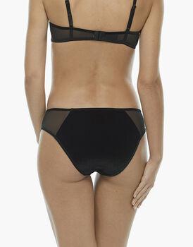 Slip nero, in velluto elastico, pizzo elastico e tulle elastico, , LOVABLE