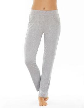 Pantalone lungo grigio melange in viscosa con tasche applicate-LOVABLE