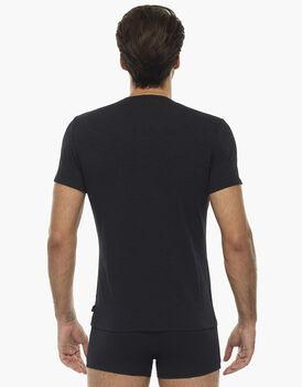 T-shirt girocollo manica corta Slub Cotton nera in cotone fiammato, , LOVABLE