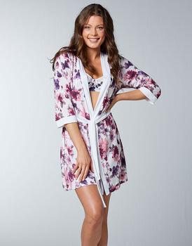 Kimono 100% modal stampato con maniche ¾, stampa fiori, , LOVABLE