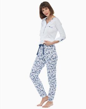 Pigiama lungo in jersey di cotone, blu e bianco, , LOVABLE