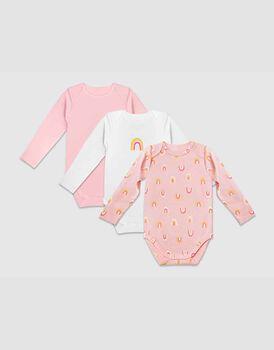 Body neonato a manica lunga in cotone biologico pacco da 3, fantasia arcobaleni, rosa e bianco, , LOVABLE