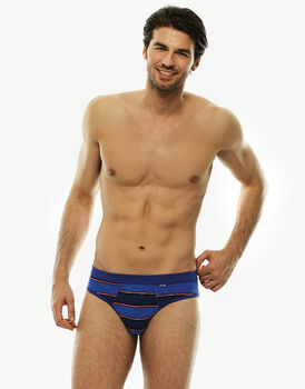 Slip blu royal rigato in cotone fiammato-LOVABLE