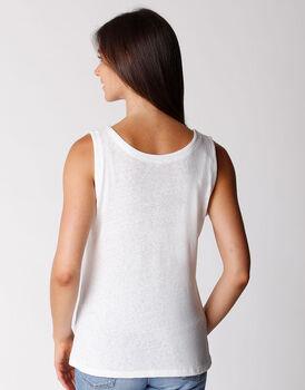 Top scollo a v in cotone e lino, bianco, , LOVABLE