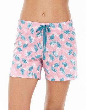 Pantalone corto rosa stampa foglie in jersey di cotone con stampa all over-LOVABLE