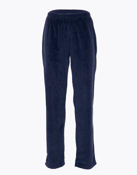 Pantalone homewear donna in micropile, blu, , LOVABLE