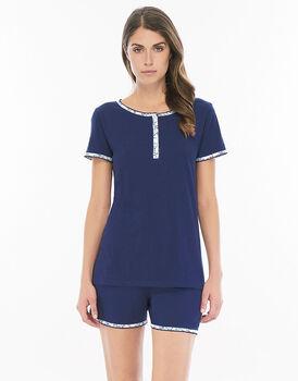 Pigiama manica e gamba corta blu navy in jersey di cotone con scollo serafino con bottoncini a fiore-LOVABLE