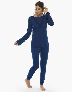 Pigiama manica e gamba lunga bluette, in jersey modal con inserti in tulle e balza di pizzo, chiuso  , , LOVABLE