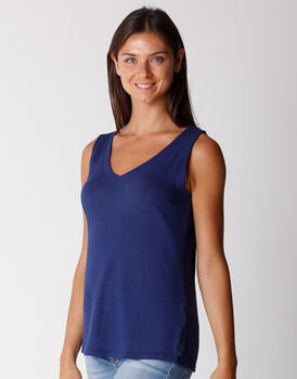 Top scollo a v in cotone e lino, blu, , LOVABLE