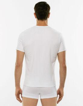 T-Shirt 24h Freshness bianca in cotone elasticizzato con scollo a V-LOVABLE