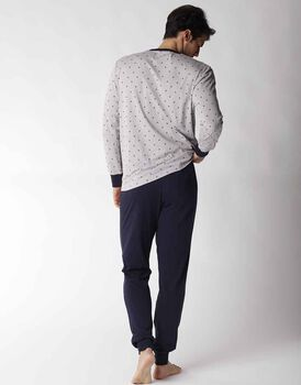 Pigiama uomo lungo in 100% cotone, grigio stampato, , LOVABLE