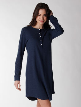 Camicia da notte manica lunga in 100% cotone, blu melange, , LOVABLE