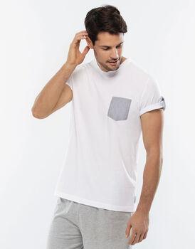Maglia manica corta bianco in jersey di cotone con scollo a V-LOVABLE