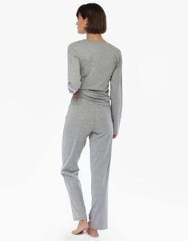 Pigiama chiuso manica e gamba lunga grigio melange in jersey di cotone di modal e lurex piping, , LOVABLE