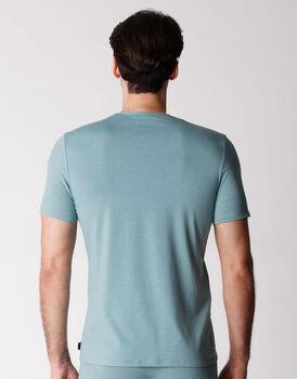 T-shirt uomo con scollo a V in cotone supima, righe verdi e grigio, , LOVABLE