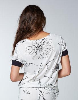 T-shirt pigiama maniche corte 100% modal, bianco con stampa a fiori, , LOVABLE