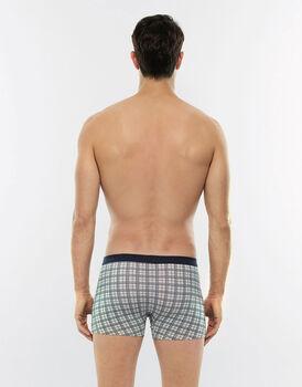 Short Boxer stampa tartan in cotone elasticizzato-LOVABLE