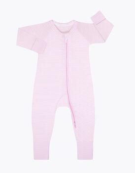 Tutina in cotone elasticizzato, tinto in filo rosa e bianco, , LOVABLE