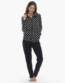 Homewear manica e gamba lunga stampa pois in pile, , LOVABLE