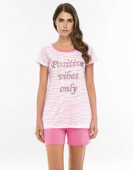 Pigiama manica e gamba corta rosa scuro in jersey cotone con scritta stampata in paillettes-LOVABLE